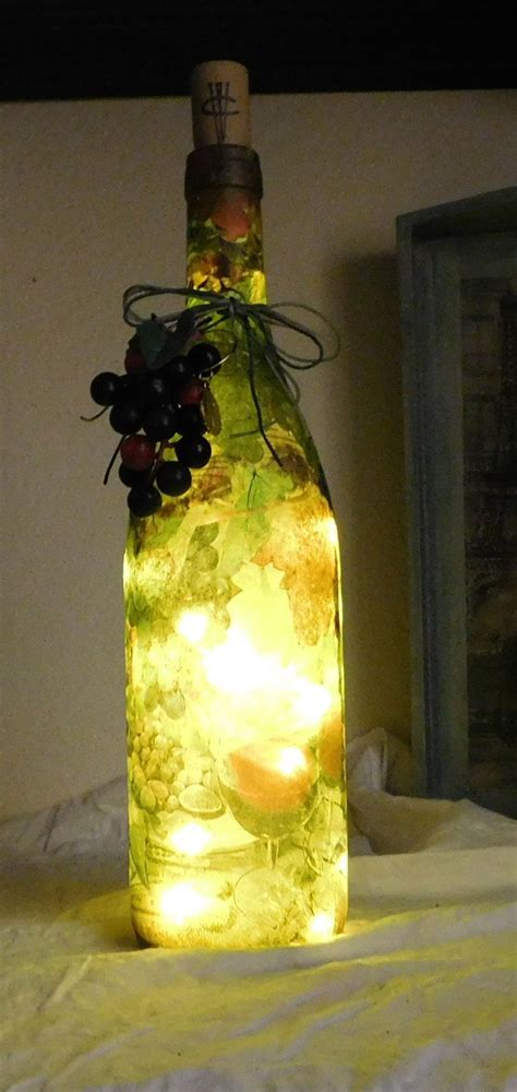Handcrafted Wine Bottle Light W Battery Operated Led Mini