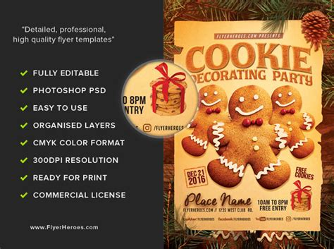 Cookie Decorating Party Flyer Template Flyerheroes Cookie Flyer Template