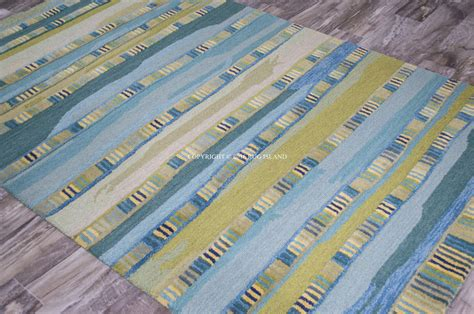 9x12 Designer Coastal Stripe Contemporary Aqua Green Contemporary Area Rugs 9x12