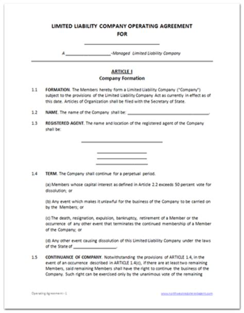 Operating Agreement For Llc Template Free Printable Documents Llc Membership Agreement Template