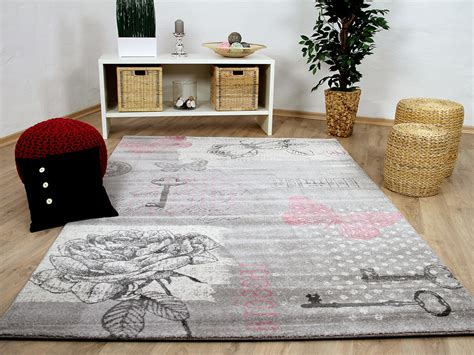 teppiche rosa grau designer teppich sevilla klassik grau rosa schmetterling