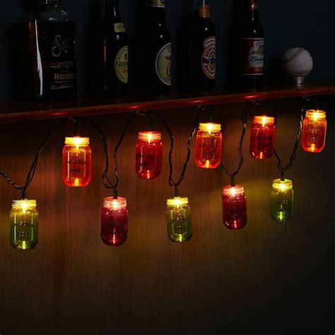 Colorful Mason Jar Outdoor String Lights Jar String Lights