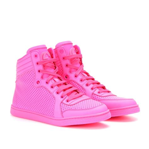 pink sneakers lyst gucci hightop neon leather sneakers in pink