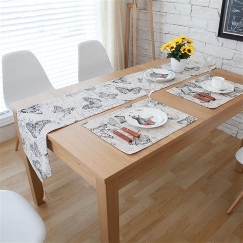 Dining Table Runners 1pc Black Butterfly Modern Style Rectangle Home Dining Table Runners Linen Cotton Hotel Coffee