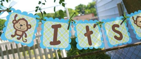 Jungle Theme Baby Shower Banner by Monkey Safari Its A Boy Themed Baby Shower Banner By