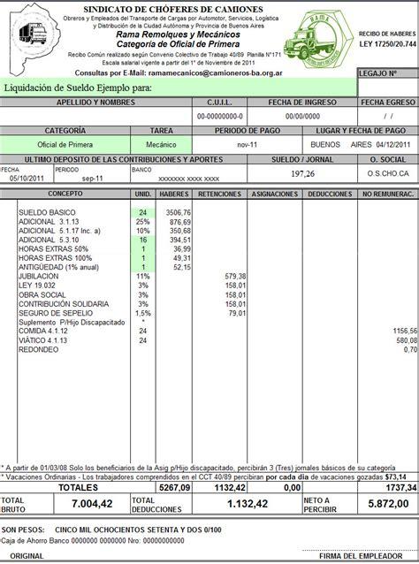 recibo de sueldo provincia de corrientes recibo de sueldo camionero categor 237 a imagen