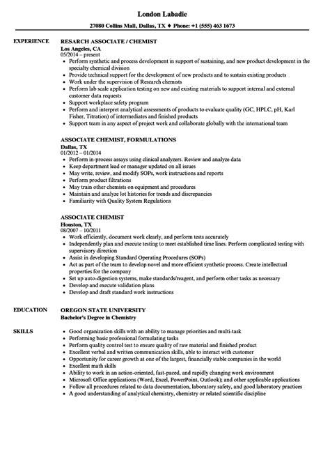 chemistry resume associate chemist resume sles velvet