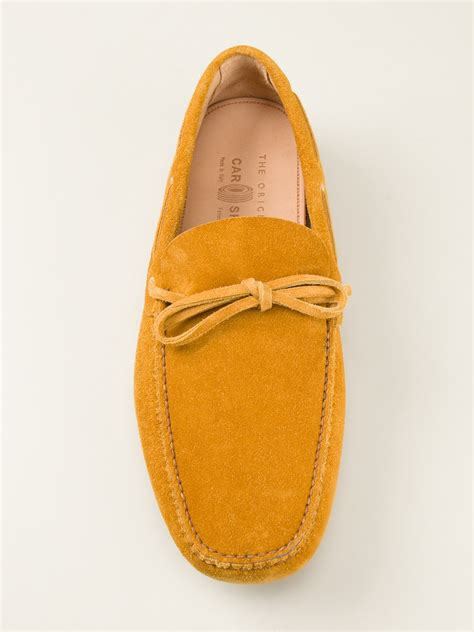 loafer shoes with laces lyst car shoe lace loafers in yellow for