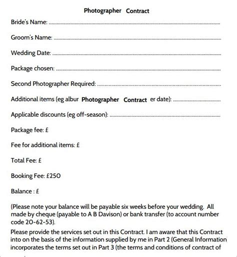 simple wedding photography contract template 25 best ideas about photography contract on