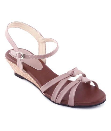 kielz light pink wedge heel sandals price in india buy