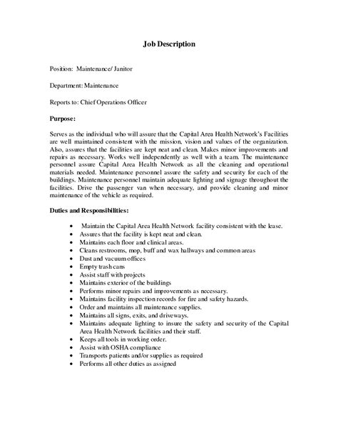 Custodial Maintenance Resume Sle custodian resume sle 28 images janitorial duties for