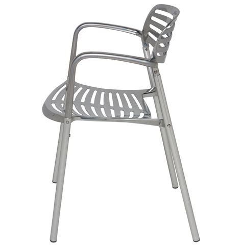metal bistro chairs with arms ginny chrome metal modern slatted cafe dining arm chair