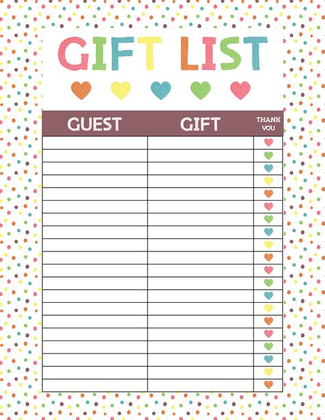 Baby Gifts For Baby Shower List by Free Printable Baby Shower Gift List Glitter N Spice