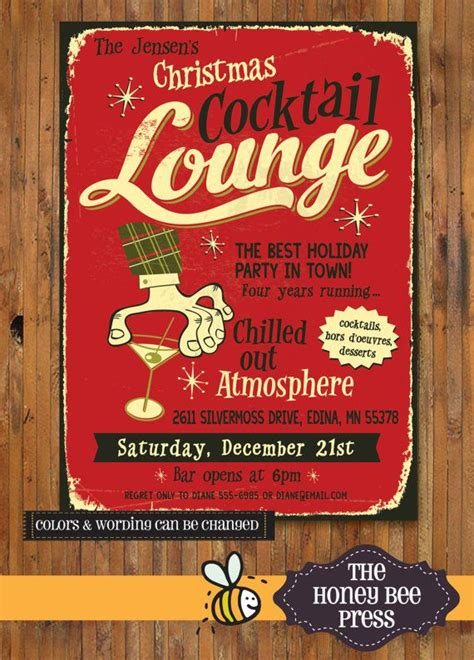 christmas cocktails vintage retro holiday party invitation quot christmas cocktail lounge