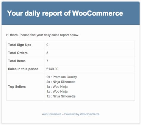 Daily Report Email Template woocommerce sales report email woocommerce