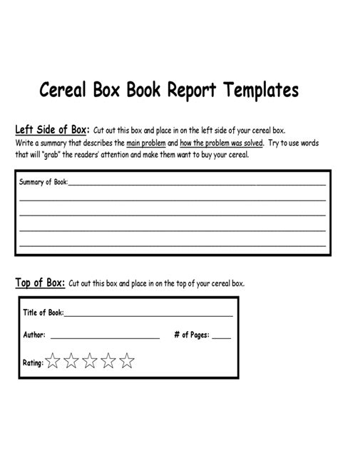 Book Report Sle sle cereal box book report template teacheng us