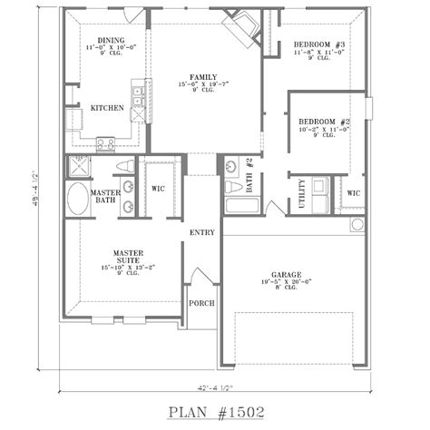 2 Bed 2 Bath House Plans by 3 Bedroom 2 Bath Floor Plans Marceladick