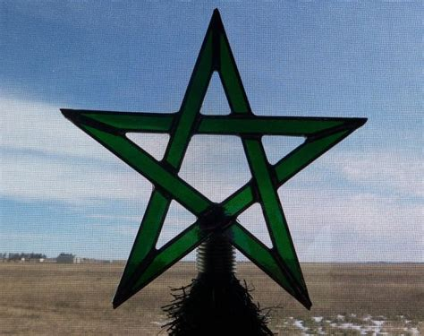 pentacle tree topper yule tree topper stained glass pentagram wiccan decor holidays