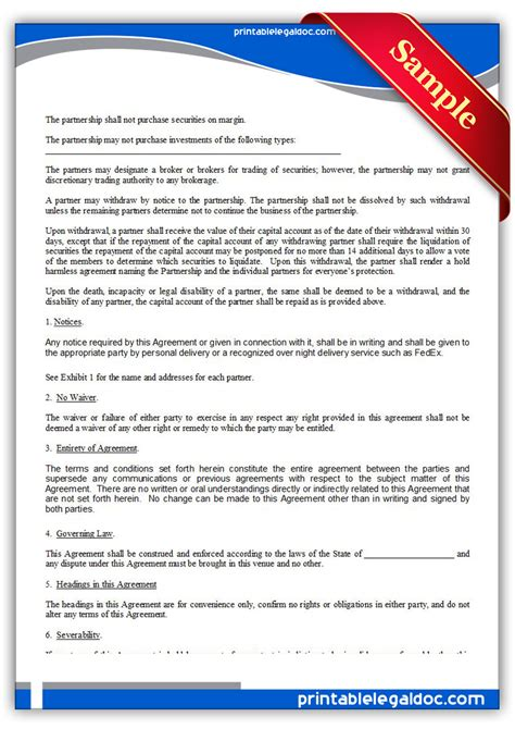 Agreement Letter For Investment free printable investment club partnership agreement form