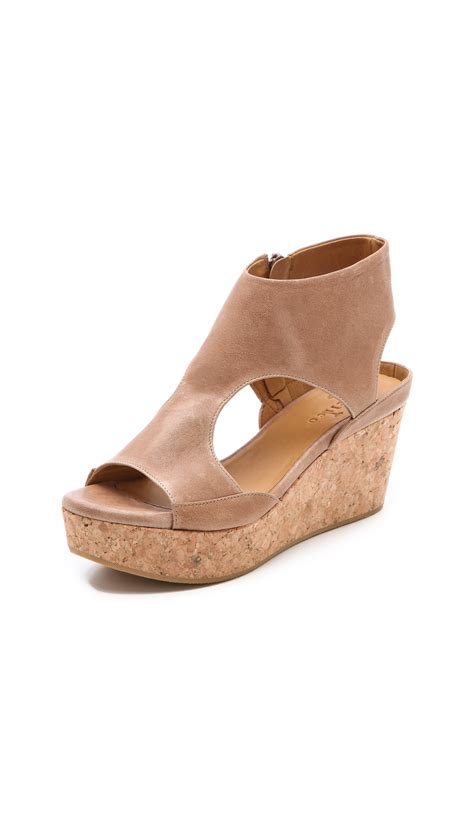 coclico sandals coclico mosaic cork wedge sandals in beige lyst