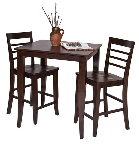 Espresso Bistro Table 3 Pc Set Espresso Wood Bar Bistro Square Pub Table 2 Pub Stool Chairs Dining Sets