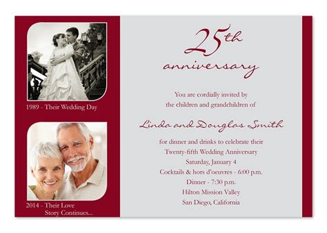Anniversary Invitations by 25 Wedding Anniversary Invitation Cards A Birthday Cake