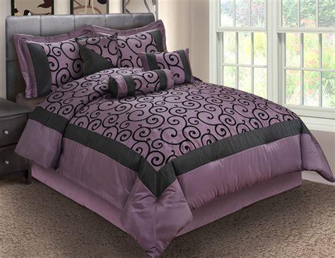 Purple And Black Bedding King by 7pcs King Robbin Purple And Black Comforter Set Ebay