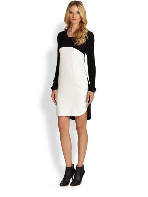 Color Block Sleeve White Dress dkny sleeve color block dress in white lyst