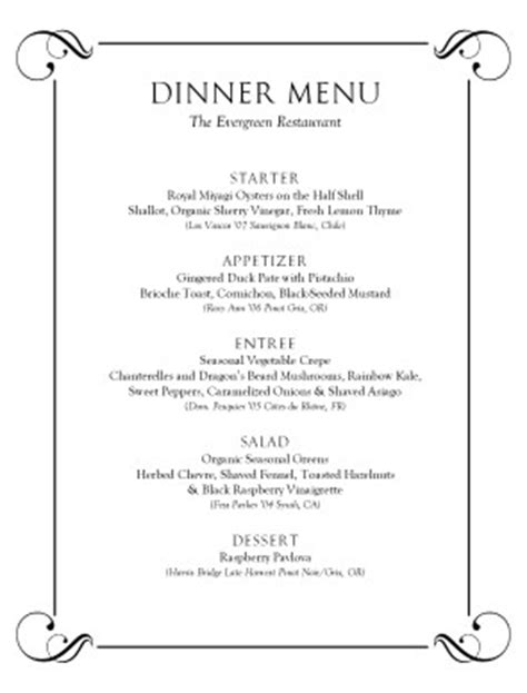 formal menu template formal dinner menu template