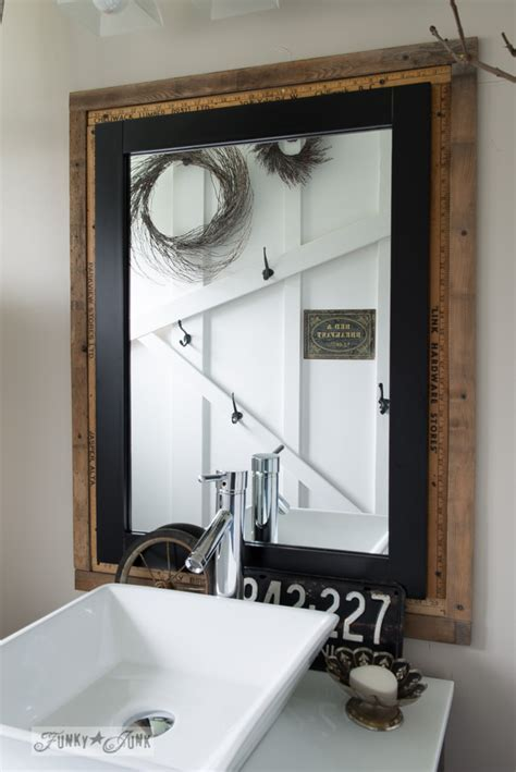 Salvaged farmhouse bathroom makeover   a mix of reclaimed and new!Funky Junk Interiors