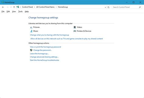 how to set up and manage windows 10 homegroup on a local