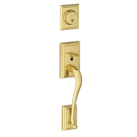 Schlage Interior Door Hardware Shop Schlage Adjustable Solid Brass Interior Exterior Lifetime Bright Brass Entry Door