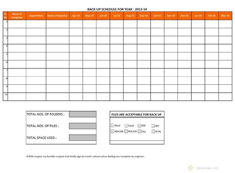 Data Backup Schedule Template Data Backup Schedule Template Excel Schedule Template Free