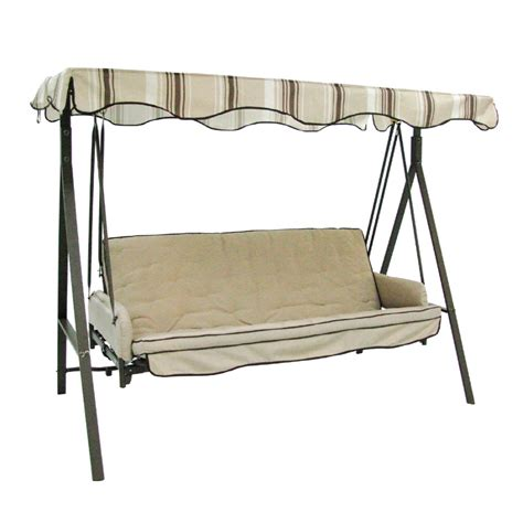 three seat swing shop garden treasures 3 seat steel traditional porch swing