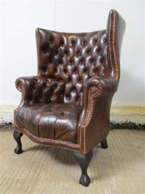 Chesterfield Wing Armchair by Antique Antique Leather Chesterfield Wing Armchair