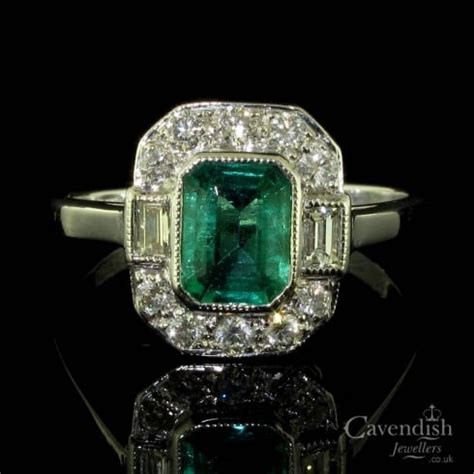 deco rings for sale uk stunning emerald and deco style ring from