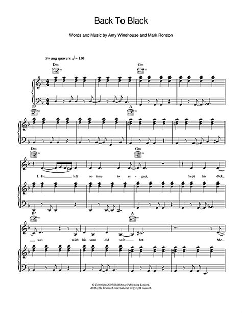 tutorial piano back to black back to black sheet music by amy winehouse piano vocal