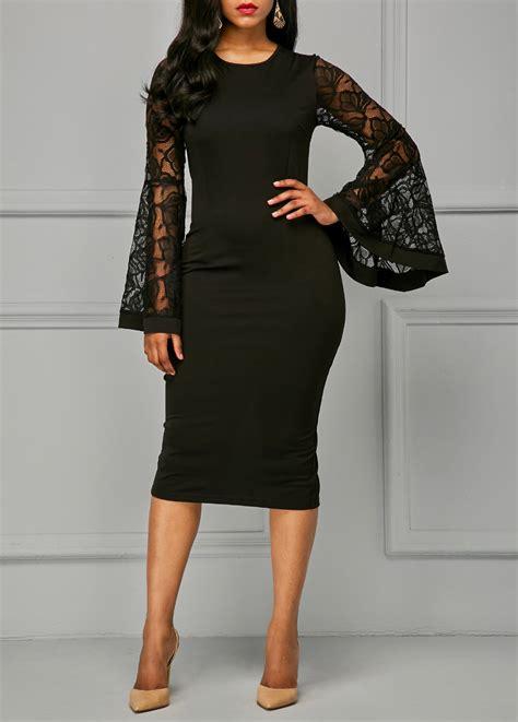 Lace Panel Sheath Dress back slit lace panel black sheath dress liligal