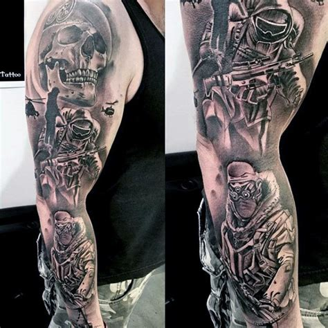 shaded sleeve tattoos for men 90 army tattoos for manly armed forces design ideas