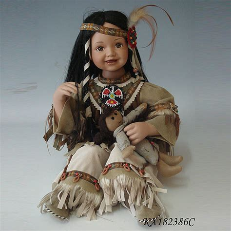 porcelain doll american indian 18inch porcelain toddler indian costume american