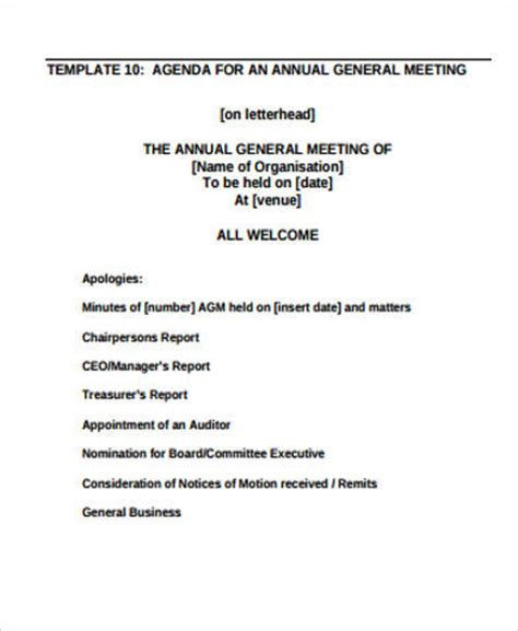 Agm Meeting Template by Annual General Meeting Agenda Template Image Collections