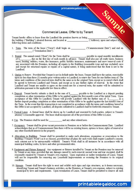 Free Printable Commercial Lease Offer To By Tenant Form Generic Offer To Lease Commercial Property Template