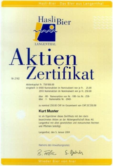 Muster Aktienbuch Schweiz 13 1 2 aktie als urkunde als wertpapier sowie als inhaber