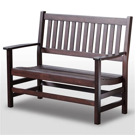 cottage style bench plantation 49 cottage style bench slatted mahogany stain dcg stores