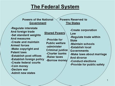powers of state and federal government venn diagram the federal system powers of the national government ppt