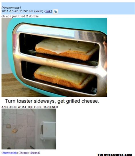 Toaster Grilled Cheese Fail flip your toaster on its side to make easy grilled cheese sandwiches