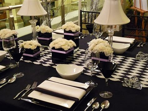 Modern Table Settings Box Vases W Light Purple Ribbon Checkerboard Runner Black And White Ls Stylish Modern