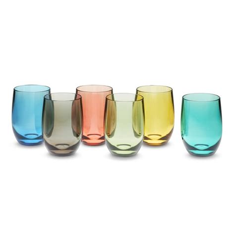 colored stemless wine glasses duraclear 174 osteria wine stemless glasses set of 6