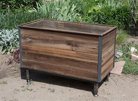 Rustic Wood Planters by Rustic Steel Frame Planters With Reclaimed Cedar Wood