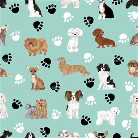 fabric mint dogs paws fabric black and white